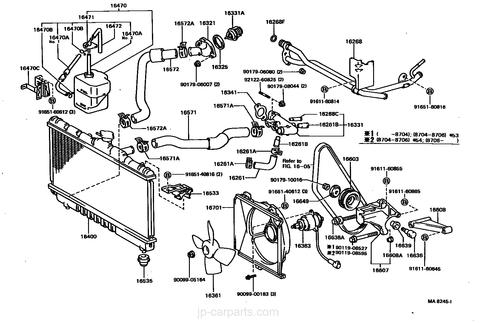 Toyota celica st162 diagrama del sistema de enfriamiento