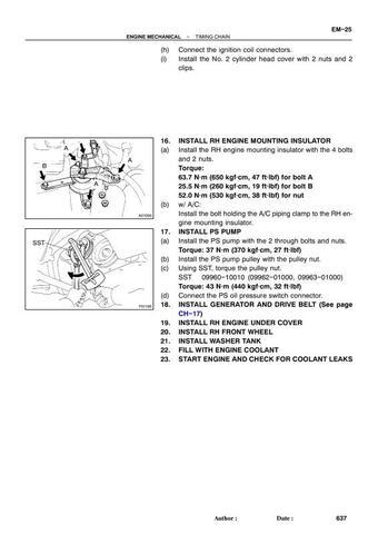 montaje de cadena de toyota yaris 2002 motor vvt i 2nz timing mark