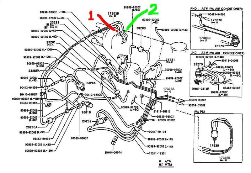 diagrama vacio toyota tercel aire acondicionado